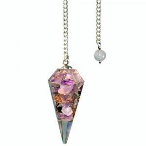 Amethyst Orgone Faceted Pendulum