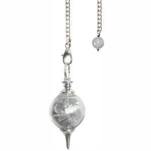 Angelite And Selenite Glass Sphere Pendulum - Guidance