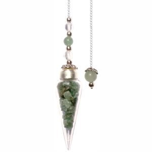 Green Aventurine Chips Glass Teardrop Pendulum